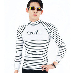 Stripe Black men rash guard t-shirt