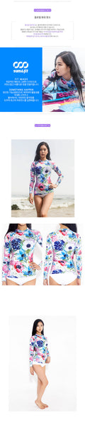 Floral wash ink woman rash guard t-shirt