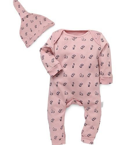 Pink Printed Jumpsuit with cap