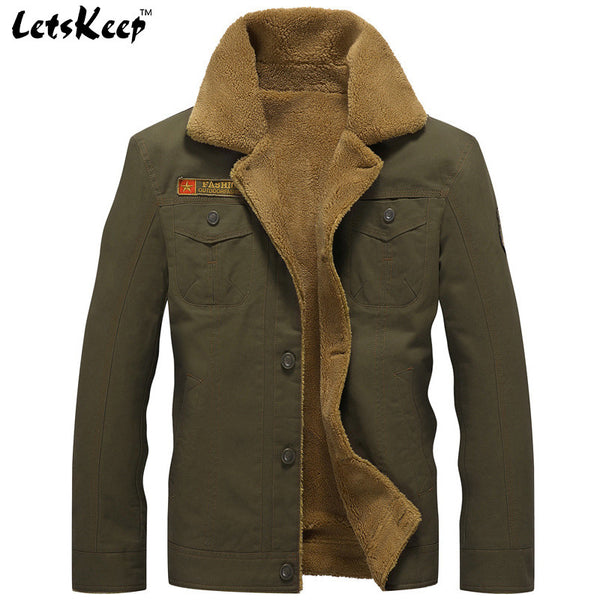 72cadebbcd8 2016 LetsKeep new winter Bomber Jackets Men Army Outerwear tactical jackets  mens cotton thick fur collar