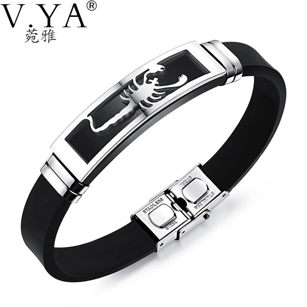 V.YA 20CM PU Leather Bracelets Individuality Stainless Steel Scorpion Bracelet for Men Male Accessories Jewelry