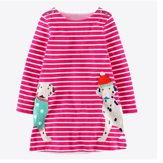Girls Dresses Long Sleeve 2017 Spring Brand Kids Dress for Girls Clothes Robe Enfant Striped Animal Print Costumes for Children