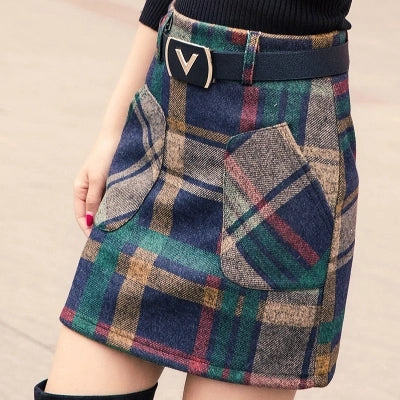 S-3XL New Women's Woolen Blends Skirt Winter 2017 Spring Autumn Fashion Elegant Plaid Thick Slim Short Skirt Girl Female Cotton