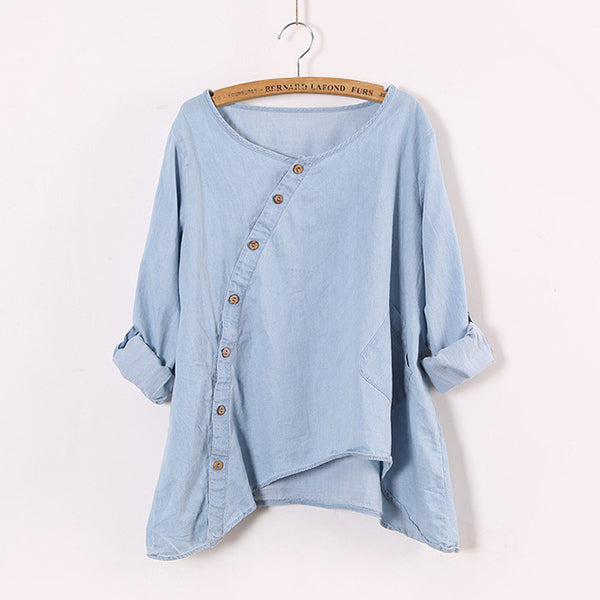 Johnature 2017 New Women Shirt Slant Oblique Button Irregular Roll Up Sleeve Wash Blue Pocket Loose Casual Top Blouse