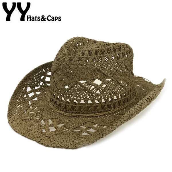 Handmade Straw Sunhat Men Western Cowboy Summer Beach Cap Women Solid Hollow Straw Jazz Hats Sombrero de paja Hombres YY17167