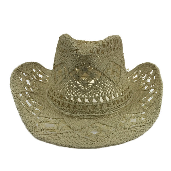 Handmade Straw Sunhat Men Western Cowboy Summer Beach Cap Women Solid  Hollow Straw Jazz Hats Sombrero 0709c5d5c0a