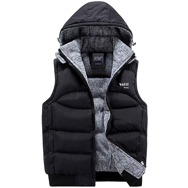 Fashion Sleeveless Jacket 2017 Men Thickening 100% Cotton Vest Hat Hooded Warm Vest Winter Waistcoat Men Casual Windbreaker