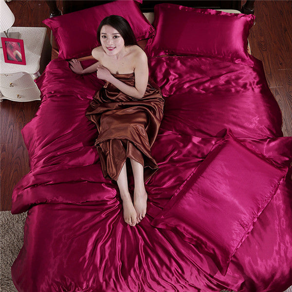 2017 Hot!! Mitation silk quilt red satin sheets cotton solid satin duvet cover set king size bedsheet 3/4pcs of bedding sets.