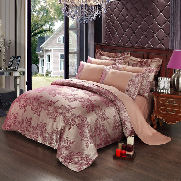 2017New Luxury Embroidery Tencel Satin Silk Jacquard Bedding Sets golden pink red bedsheet Cotton Queen Kingsize 4pcs cover gift