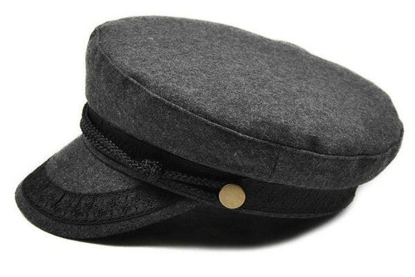 COKK Military Hat Winter Knitted Cap Flat Top Hats For Women Black Grey Male Female Casquette Militaire Gorra Plana