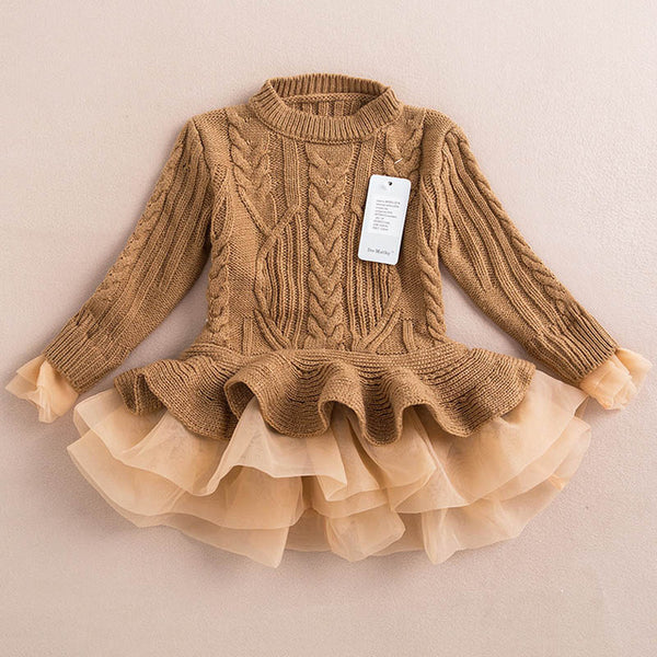 Bear Leader Girls Dress 2017 Winter Pullover Knitted Sweaters Ball Gown Dress Long Sleeve Outerwears O-neck Kids Knitwear 3-7Y