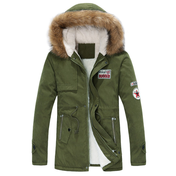 2017 new men's thick warm winter down coat long fur collar army green men parka Fleece cotton coat jacket parka men