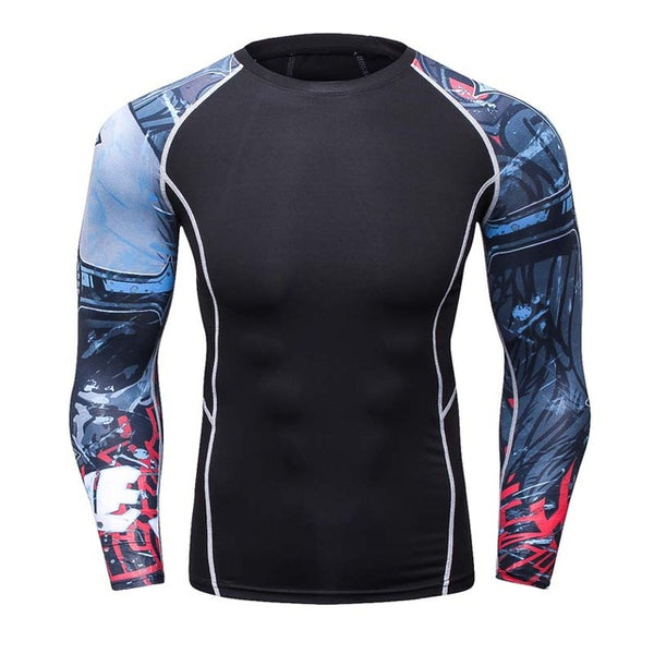 Mens Compression Shirts Skin Tight Thermal Long Sleeves Jerseys Rashguard Crossfit Exercise Workout Fitness Sportswear