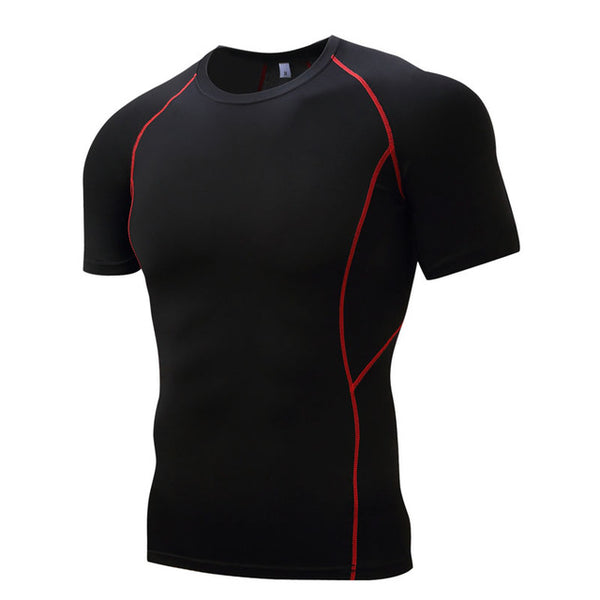 Mens Compression Shirts Bodybuilding Skin Tight Short Sleeves Jerseys Clothings Crossfit Exercise Workout Fitness Sportswear