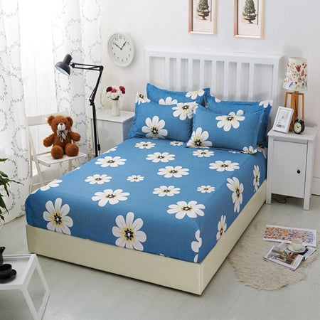 1pcs White Flowers Printed Bedding Bed Sheets With Elastic 100% Polyester  Fitted Sheets Mattress Cover