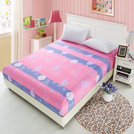 1pcs White Flowers Printed Bedding Bed Sheets With Elastic 100% Polyester Fitted Sheets Mattress Cover Band Bedspread Bedsheet