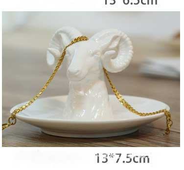 Nordic ceramic jewelry storage disc animal Home Furnishing handicrafts home decor Unicorn Rhinoceros Bright white porcelain