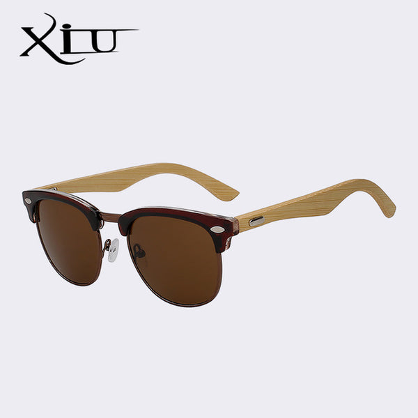 XIU Half Metal Bamboo Sunglasses Men Women Brand Designer Glasses Mirror Sun Glasses Fashion Gafas Oculos De Sol UV400