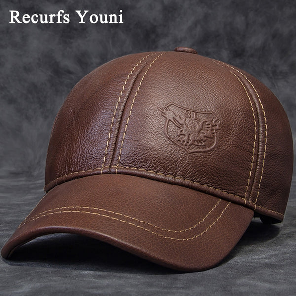 2018 Winter Male Genuine Leather Eagle Print 56-60CM Black/Brown Baseball Caps For Man Casual Street Gf Gorras Dad Hat RY119