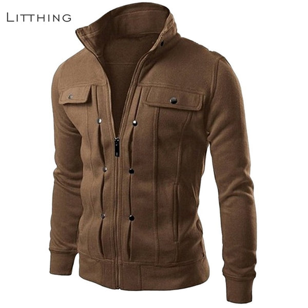 Litthing Fashion Jackets Stand Collar Italy Style Jackets Men Spring Autumn Pocket Solid Coats Mental Button Hombres Overcoat