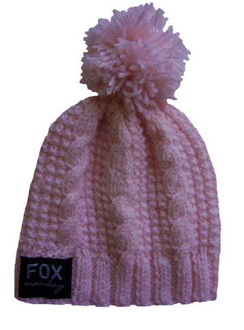 Hand knitted beanie-Soft Pink