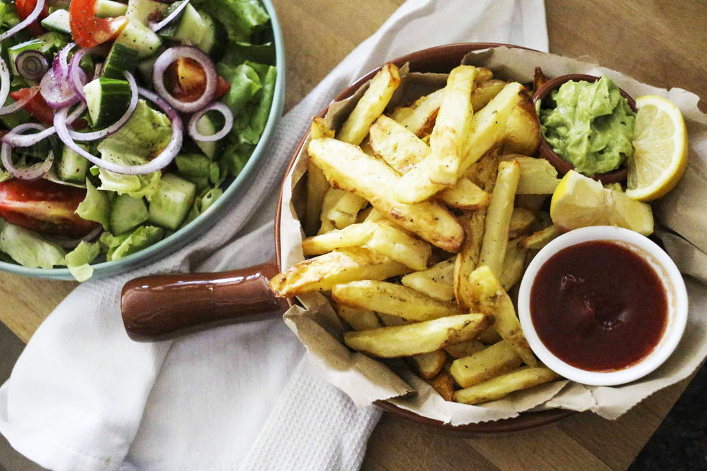HEALTHY FRIES WITH SALAD AND AVO WHIP