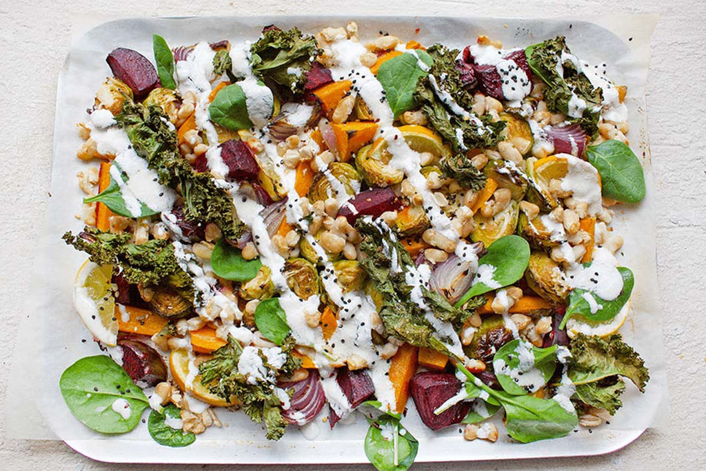 ROASTED VEGETABLE & GOATS CHEESE ONE PAN