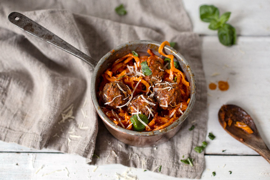 VEGAN MEATBALLS WITH SWEET POTATO PASTA