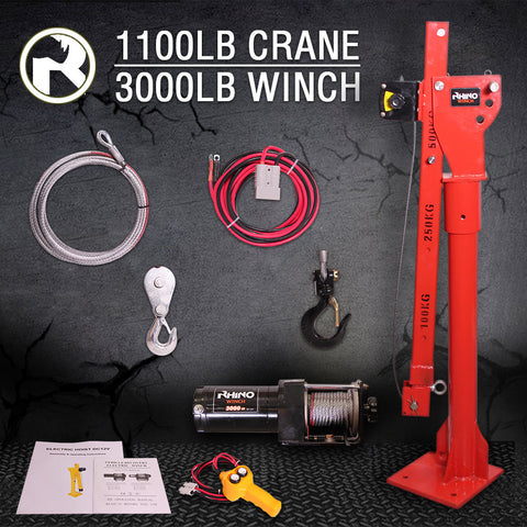 Rhino 3000lb Electric Crane (Winch over 1 Ton Lift)