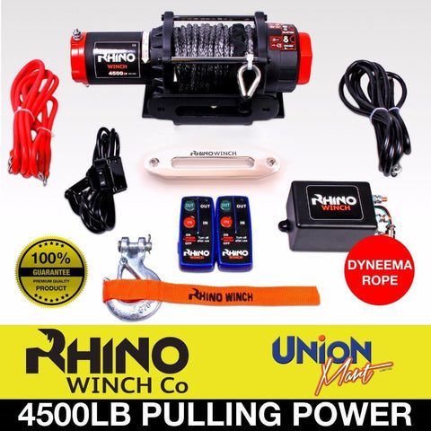Rhino 4500lb 12V Winch, With Dyneema Rope