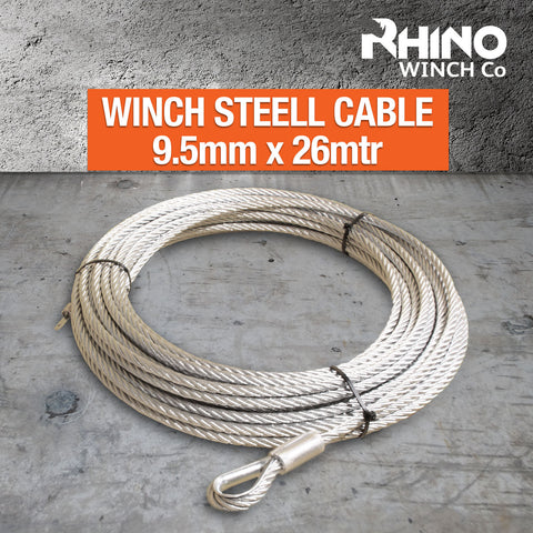 Rhino Winch Cable Rope - Steel - 9.5mm x 26mtr/85ft