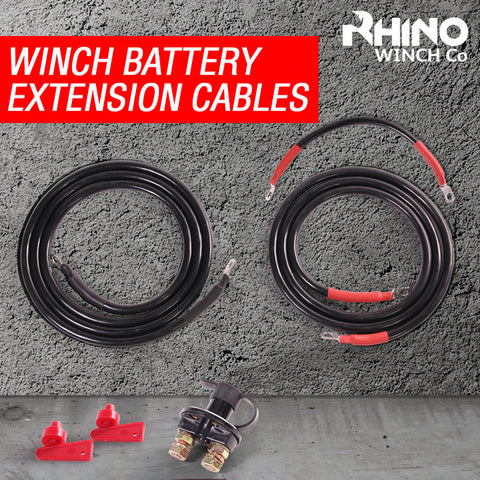 Rhino Winch Defender Winch Battery Extension Cables - Heavy Duty + Isolator