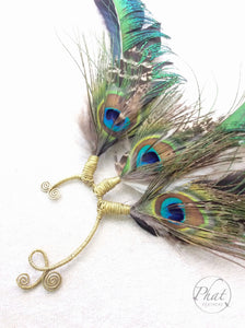 Peacock Feather Earcuff