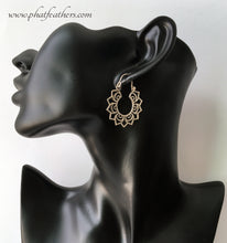 Load image into Gallery viewer, Lotus Silver Hoop Earrings