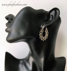 Lotus Silver Hoop Earrings