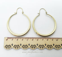 Load image into Gallery viewer, Thin Statement Hoops Brass
