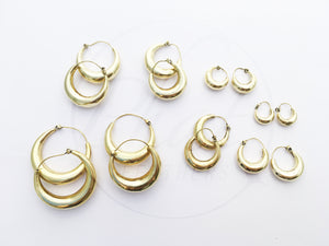 Brass Chunky Hoop Earrings