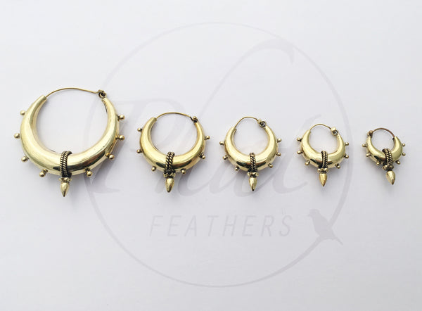 Brass Spike Hoop Earrings