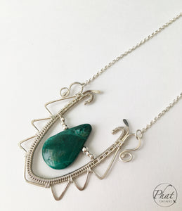 Chrysocolla Silver Necklace