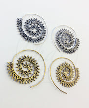Load image into Gallery viewer, Brass Spiral Earrings