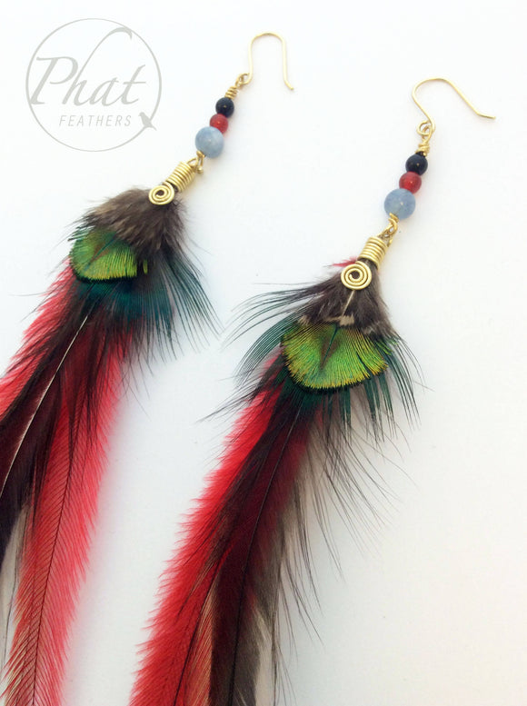 Long Red Feather Earrings