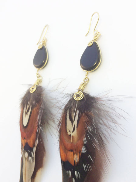 Rooster Feather Earrings