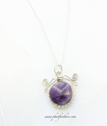Amethsyt silver Necklace