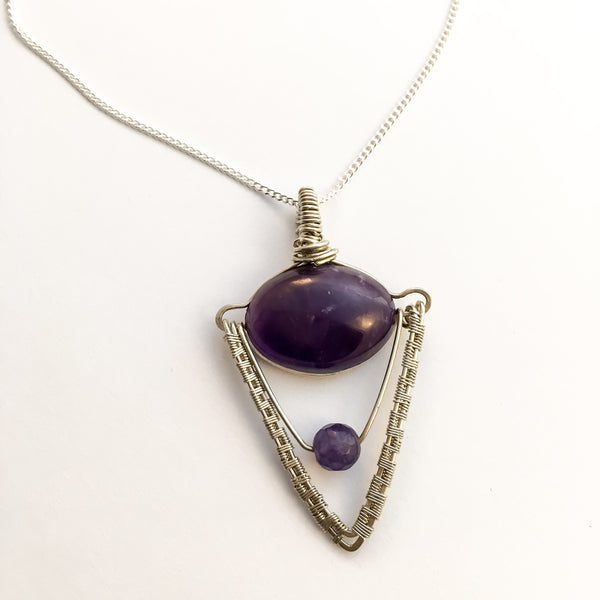 Amethyst Geometric Silver Necklace