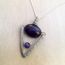 Load image into Gallery viewer, Amethyst Geometric Silver Necklace