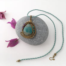 Load image into Gallery viewer, Amazonite Bronze Pendant