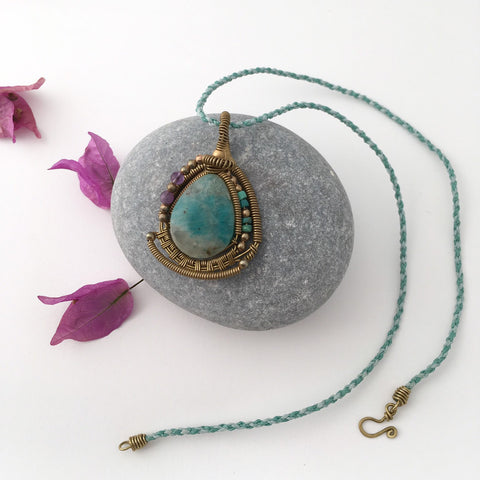 Amazonite Bronze Pendant