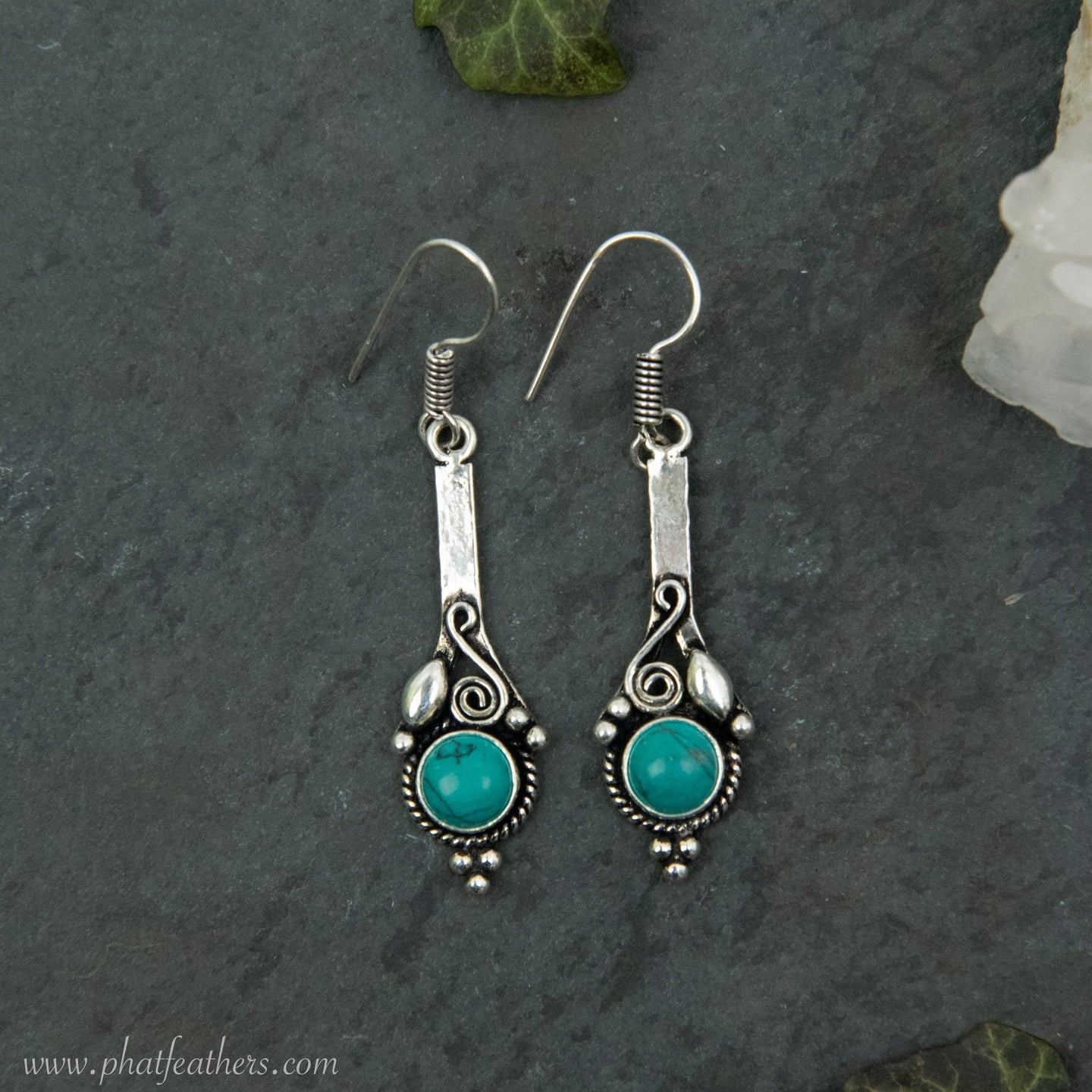 Gemstone Brass Earrings