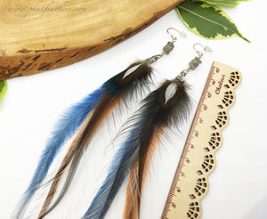 Labradorite Feather Earrings