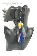 Load image into Gallery viewer, Long Blue Emu Feather Earrings